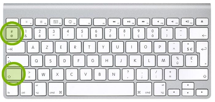 La touche dièse sur un clavier Mac